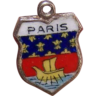 Vintage 800 Silver & Enamel Travel Shield Charm - Paris!