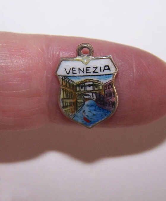 Vintage 800 Silver & Enamel Travel Shield Charm - Venice, Italy!