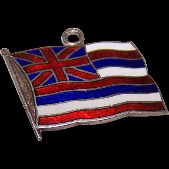 Vintage STERLING SILVER & Enamel Charm - Flag for Hawaii!