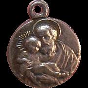 Vintage Silverplate Religious Medal/Charm - Saint Joseph & Infant Jesus of Nazareth!