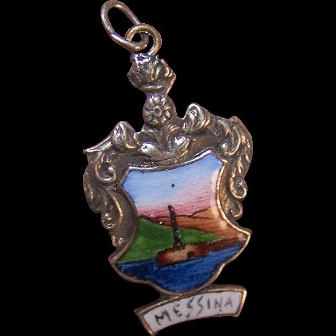 Vintage Silverplate & ENAMEL Souvenir Charm from Messina, Greece!