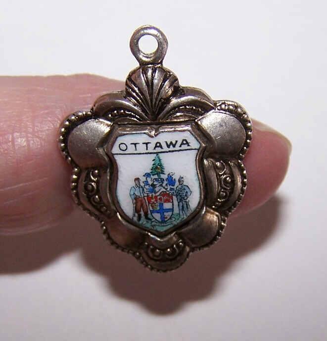 Vintage Silverplate & Enamel Souvenir Charm for Ottawa, Ontario, Canada!