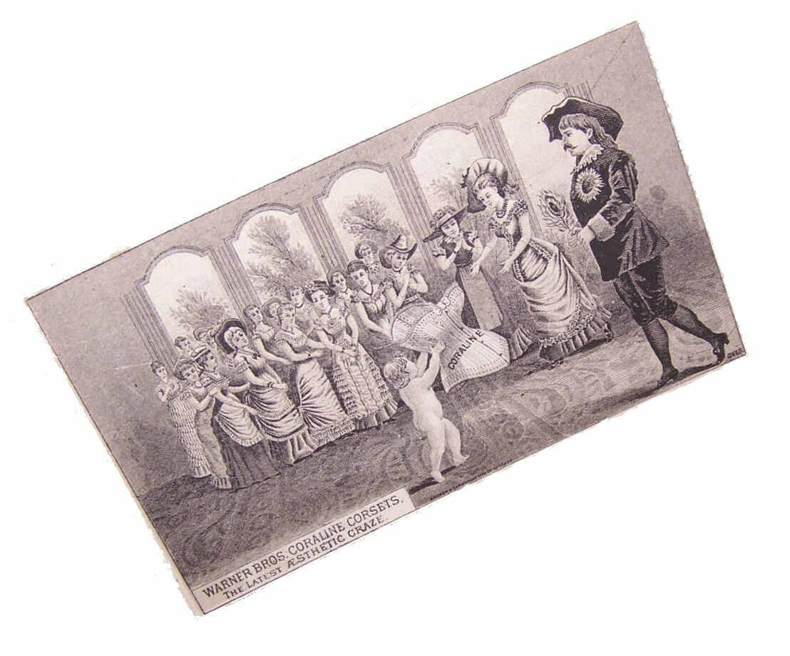 ANTIQUE VICTORIAN B&W Trade Card - Warner Bros Coraline Corsets!