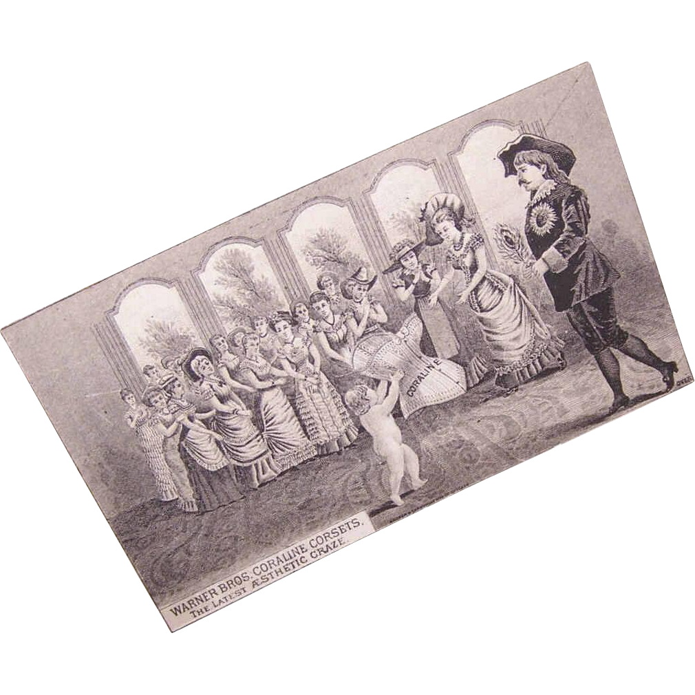 ANTIQUE VICTORIAN B&W Trade Card - Warner Bros Coraline Corsets!