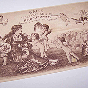 VICTORIAN Trade Card - Halls Hair Renewer - Lots of Cherubs!