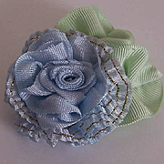 Vintage FRENCH SILK Ribbonwork Applique - Blue/Mint Green Tones!