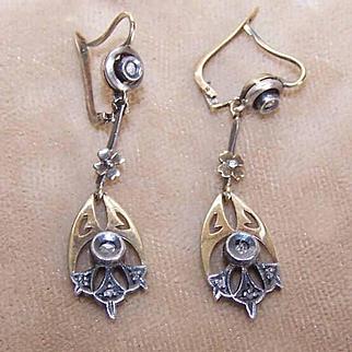 ANTIQUE VICTORIAN 14K Gold, Sterling Silver & Rose Cut Diamond Earrings!