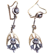 ANTIQUE VICTORIAN 14K Gold, Sterling Silver & Rose Cut Diamond Earrings!