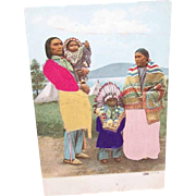 Vintage Postcard - Native American Couple with Their Children!