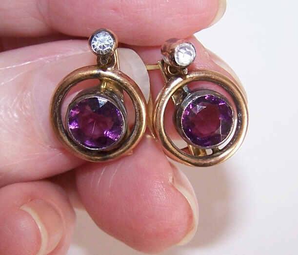 ANTIQUE EDWARDIAN 12K Gold & Rhinestone Paste Drop Earrings!