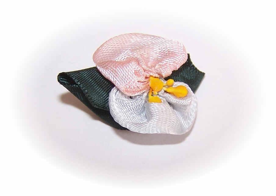 Vintage HAND MADE Satin Floral Applique Embellishment!