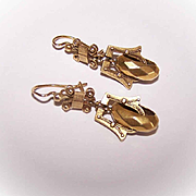 Stunning VICTORIAN REVIVAL 14K Gold Etruscan Drop Earrings!