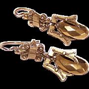 Stunning VICTORIAN REVIVAL 14K Gold Etruscan Drop Earrings!