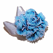 VINTAGE Silk Rayon Ribbon Rose Applique/Embellishment - Pale Blue/Dark Blue Ombre!