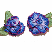 2 VINTAGE Silk Rayon Ribbon Rose Applique/Embellishments - Dk Blue/Crimson Ombre!