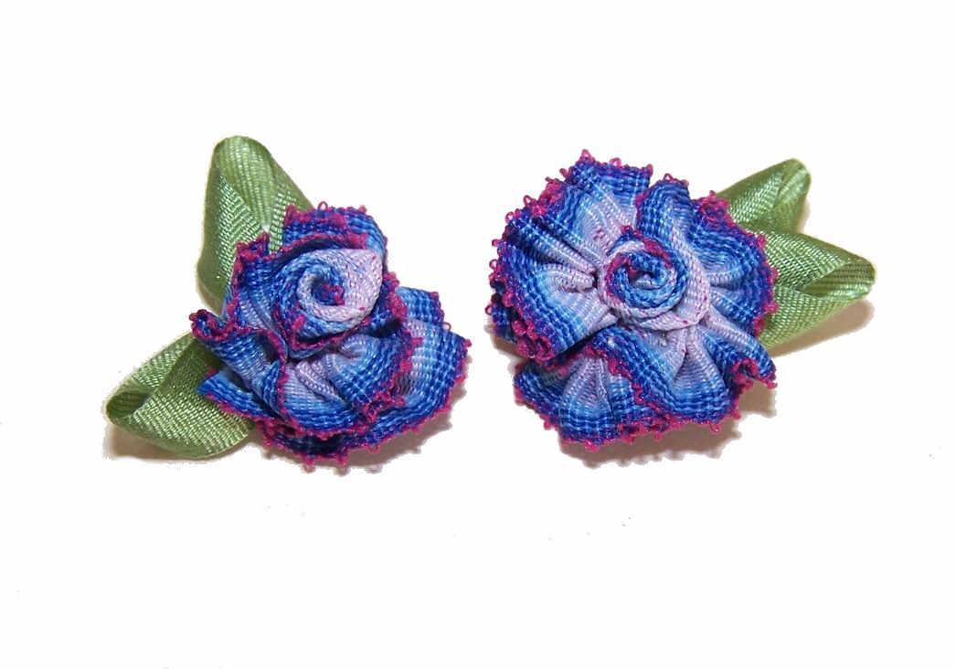 2 VINTAGE Silk Rayon Ribbon Rose Applique/Embellishments - Dk Blue/Crimson Ombre!