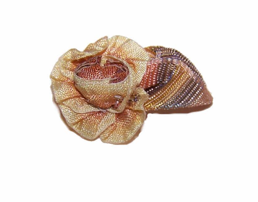 C.1900 FRENCH Silk Ribbonwork Floral Applique/Embellishment!