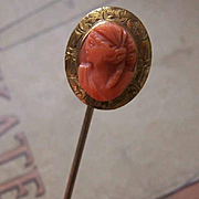 Antique Victorian 10K Gold & Coral Cameo Stick Pin!