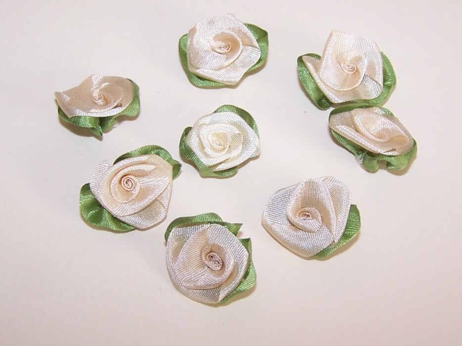 8 AMERICAN Hand Made CREAM Silk Ribbon Floral Applique/Embellishment!