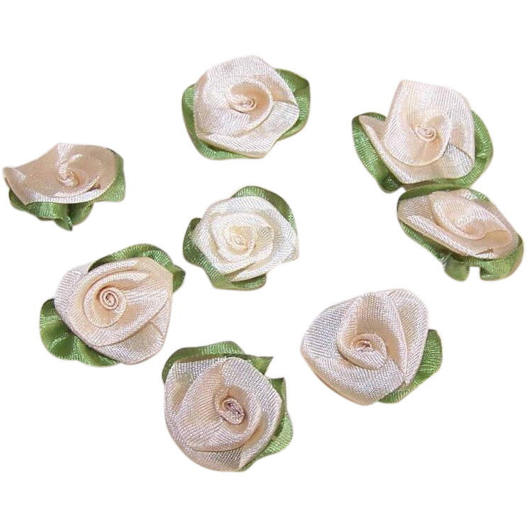 8 AMERICAN Hand Made CREAM Silk Ribbon Floral Applique/Embellishment/Ribbonwork Roses!