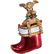 Vintage Christmas Pin - Gerrys Articulated Poodle in a Stocking!