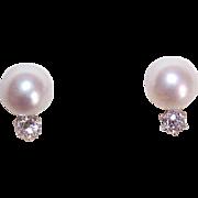 Favored by Queen Elizabeth II!  14K Gold, 8.5mm Cultured Pearl & .40CT TW Diamond Earrings!