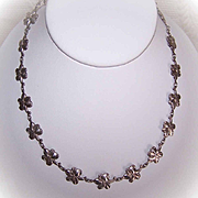 Vintage STERLING SILVER Floral Link Necklace!