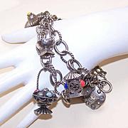 2 VINTAGE Silver Plate & Faux Gemstone Charm Bracelets!