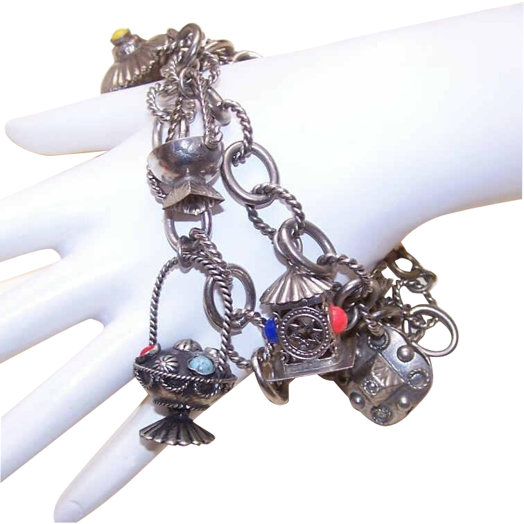 Pair of VINTAGE Silver Charm Bracelet - Silver Plate - Silverplate with Faux Gemstone Charms