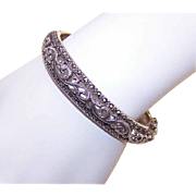 Vintage STERLING SILVER & Marcasite Hinged Bangle Bracelet!
