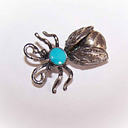 Vintage STERLING SILVER & Turquoise Fly Pin/Insect Pin - Native American Design!
