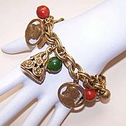 Fabulous VINTAGE Gold Tone Charm Bracelet By Coro!
