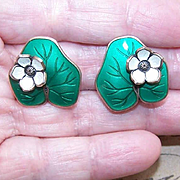 "Vintage DAVID-ANDERSEN Sterling Silver & Enamel ""Lily Pad"" Earrings!"