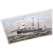 ANTIQUE VICTORIAN Trade Card for State Line Steamers (Ships)!