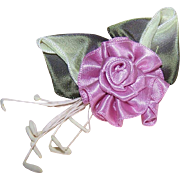 Hand Made MAUVE SATIN & Wired Ribbon Floral Applique/Embellishment!