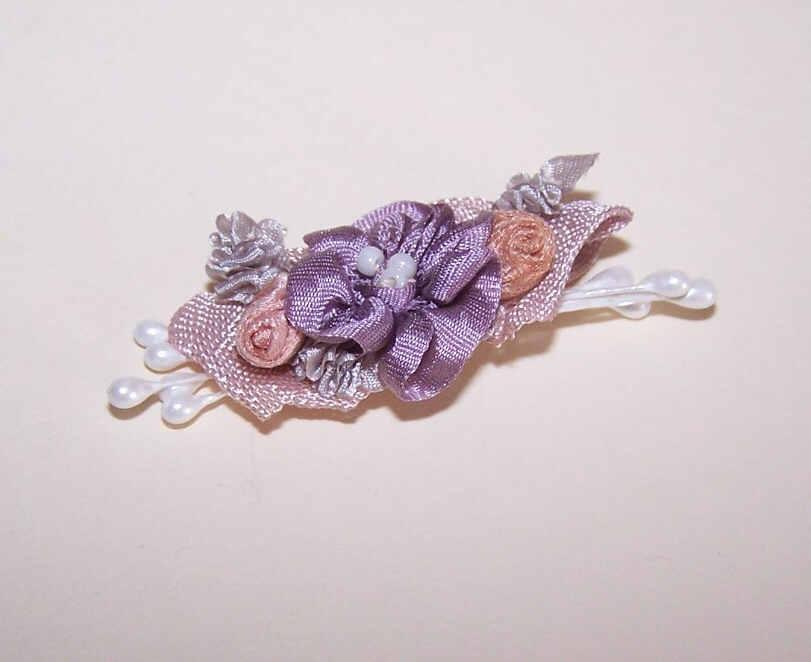 Vintage FRENCH SATIN Ribbon Work Floral Applique/Embellishment - A Trio of Blooms!