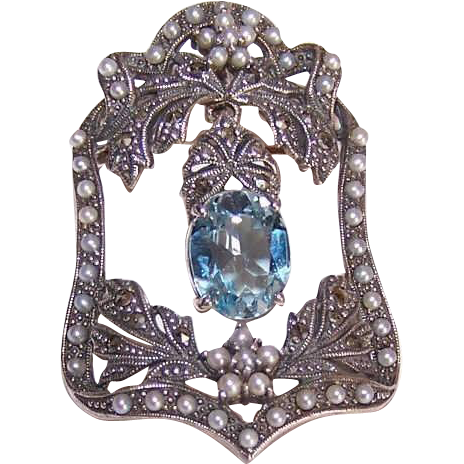Vintage STERLING SILVER, Blue Topaz, Pearl & Marcasite Pin/Brooch!