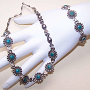 Native American STERLING SILVER & Recon Turquoise Necklace & Bracelet!
