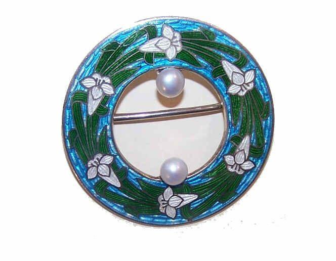 ANTIQUE EDWARDIAN Sterling Silver, Enamel & Cultured Pearl Pin - Lilies!
