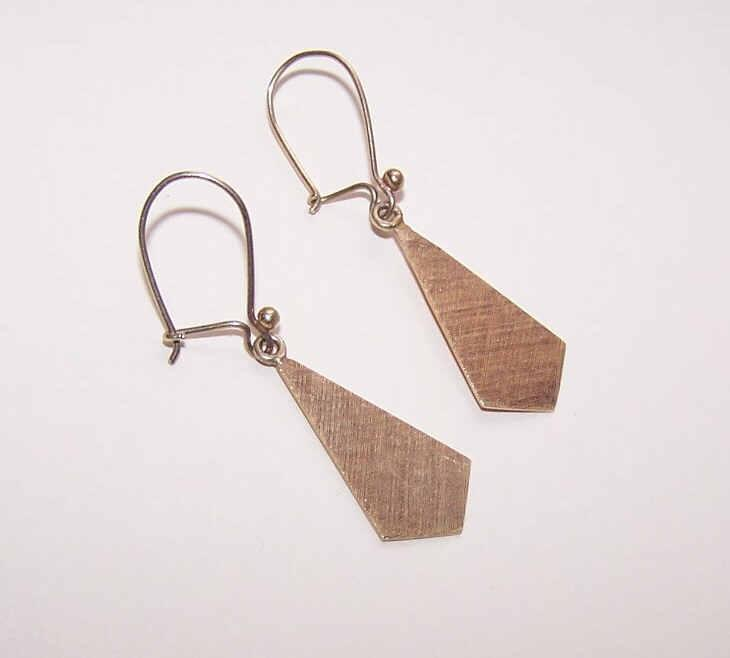 Vintage 14K Gold Drop Earrings with Textured Fronts!