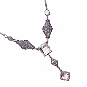 ART DECO Rhodium Plate & White Rhinestone Necklace!