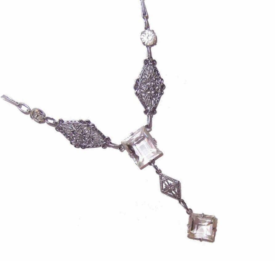 ART DECO Rhodium Plate & White Rhinestone Necklace!