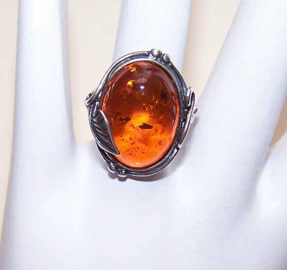 Lovely Sterling Silver & Baltic Amber Ring!