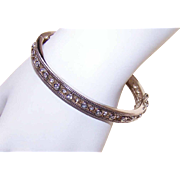 Stunning STERLING SILVER & Cubic Zirconia Hinged Bangle Bracelet!