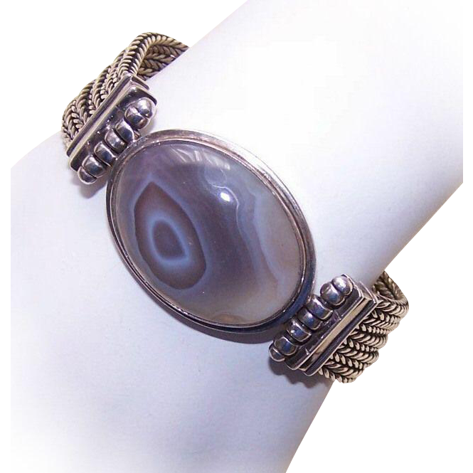 Slinky & Heavy STERLING SILVER & Agate Fashion Bracelet by EXEX!