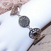 Vintage STERLING SILVER & Mother of Pearl Link Bracelet!