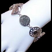 Vintage STERLING SILVER & Mother of Pearl Link Bracelet!