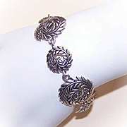 Vintage STERLING SILVER Link Bracelet by Barse - Leafy Swirl Design!