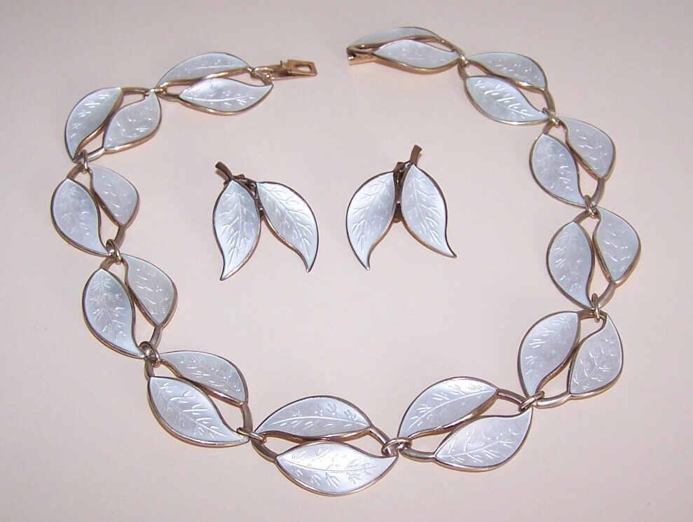 """STERLING SILVER & Enamel """"Double Leaf"""" Necklace & Earrings Set by David-Andersen, Norway!"""
