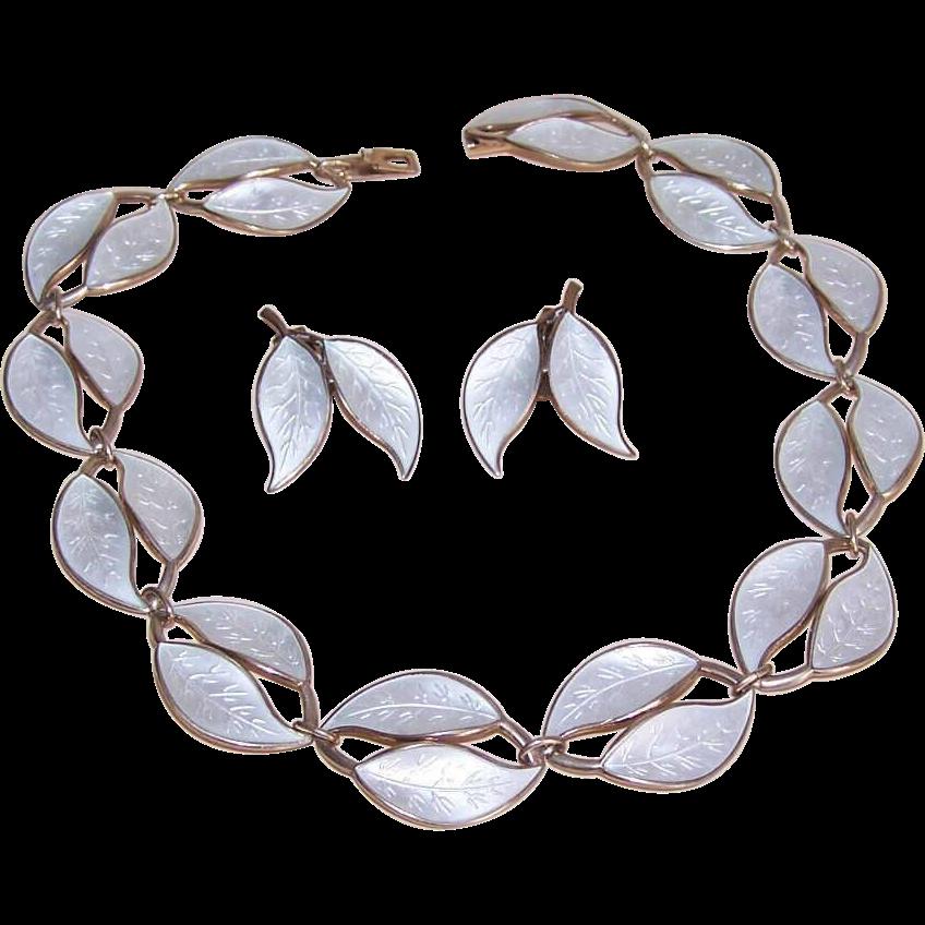 Vintage STERLING SILVER Jewelry Set - David Andersen, Norway, White Enamel, Necklace, Earrings